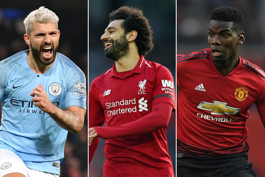 Sergio Aguero, Mohamed Salah and Paul Pogba