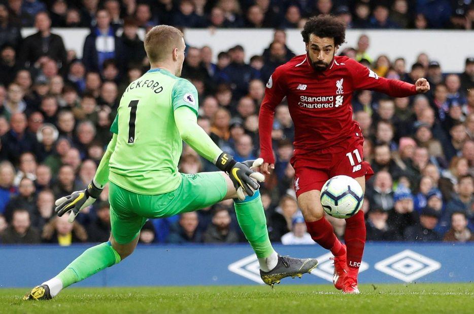 Jordan Pickford saves from Mo Salah
