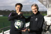 Luke Amos receives his Premier League Debut Ball