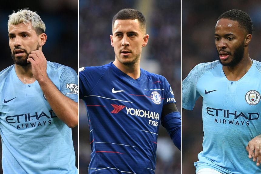 Sergio Aguero, Eden Hazard and Raheem Sterling