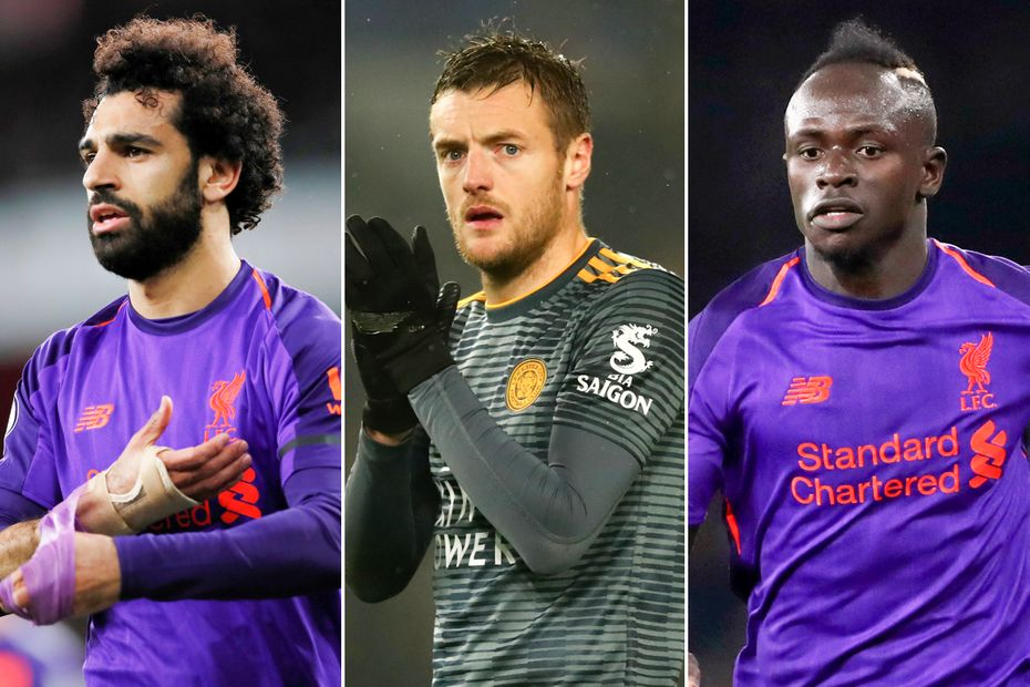 Mohamed Salah, Jamie Vardy and Sadio Mane