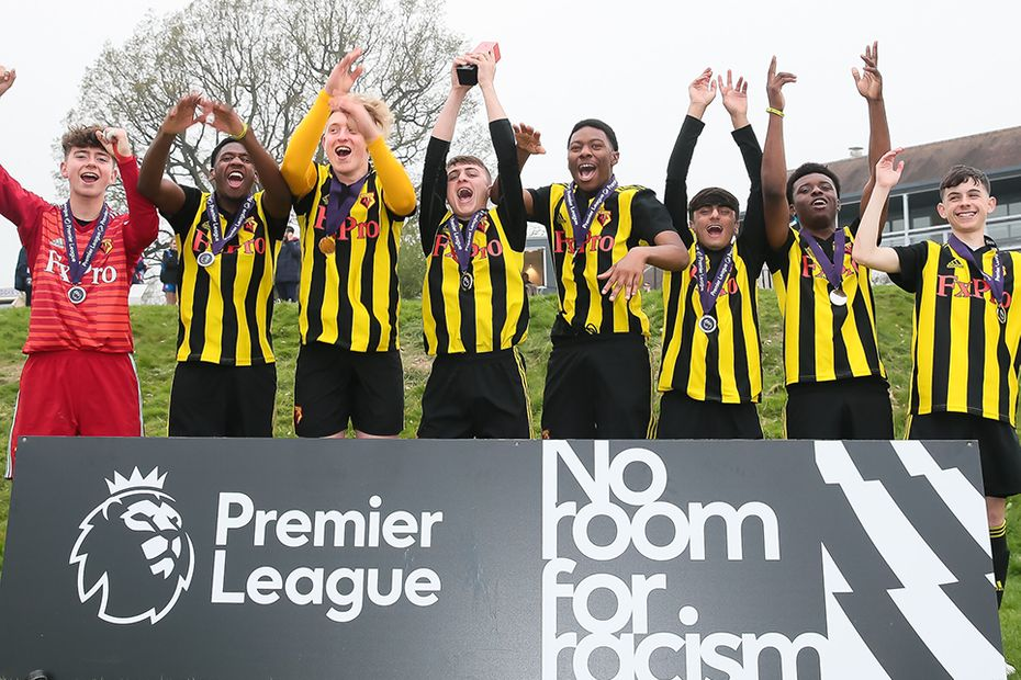 Watford celebrate winning the 2019 PL Kicks Cup