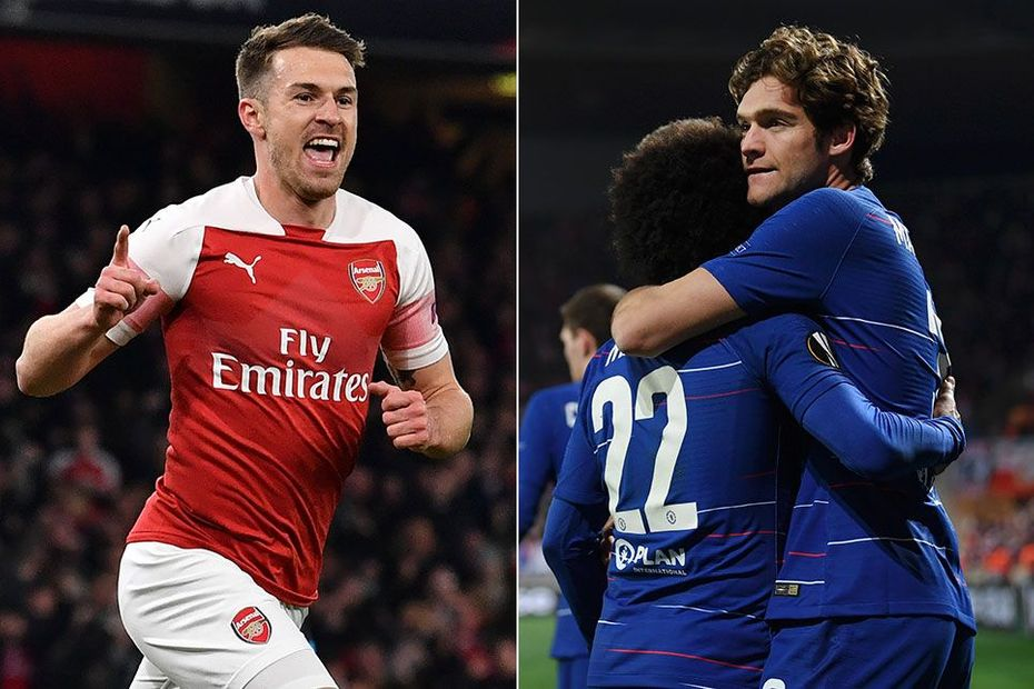 Aaron Ramsey, Arsenal, and Marcos Alonso, Chelsea