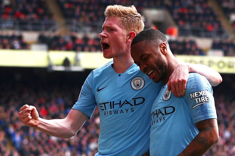 Kevin De Bruyne and Raheem Sterling against Crystal Palace