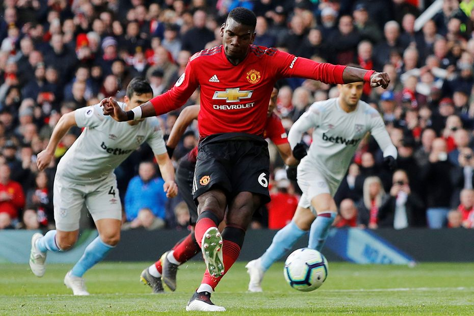Paul Pogba scores against West Ham United