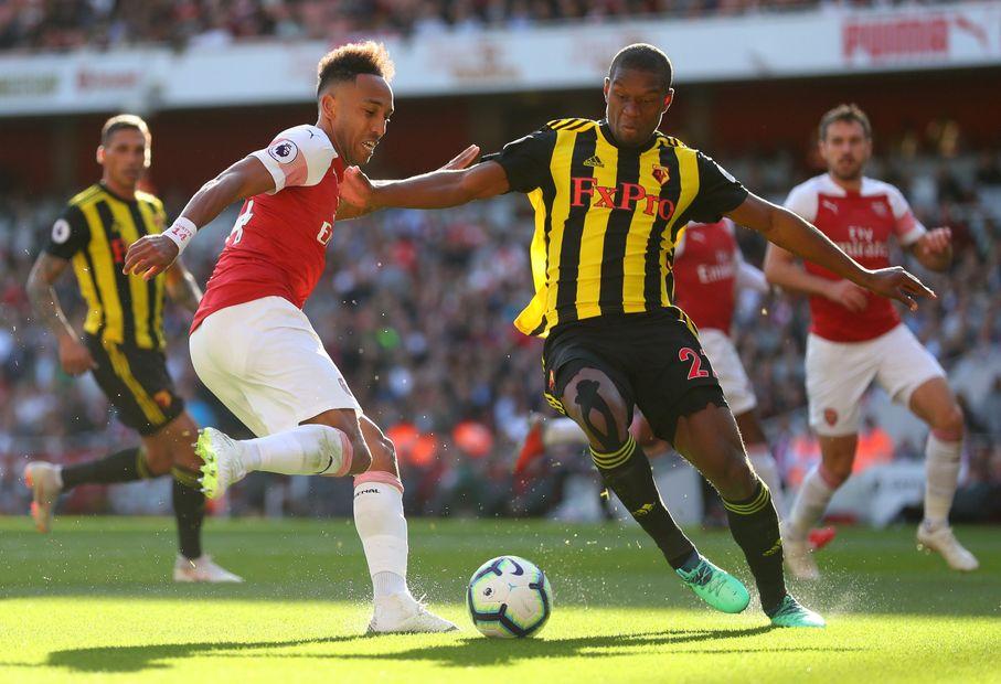 Pierre-Emerick Aubameyang, Arsenal, and Christian Kabasele, Watford