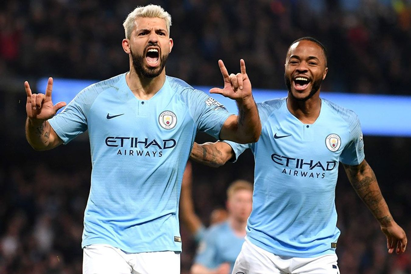 Sergio Aguero and Raheem Sterling, Man City
