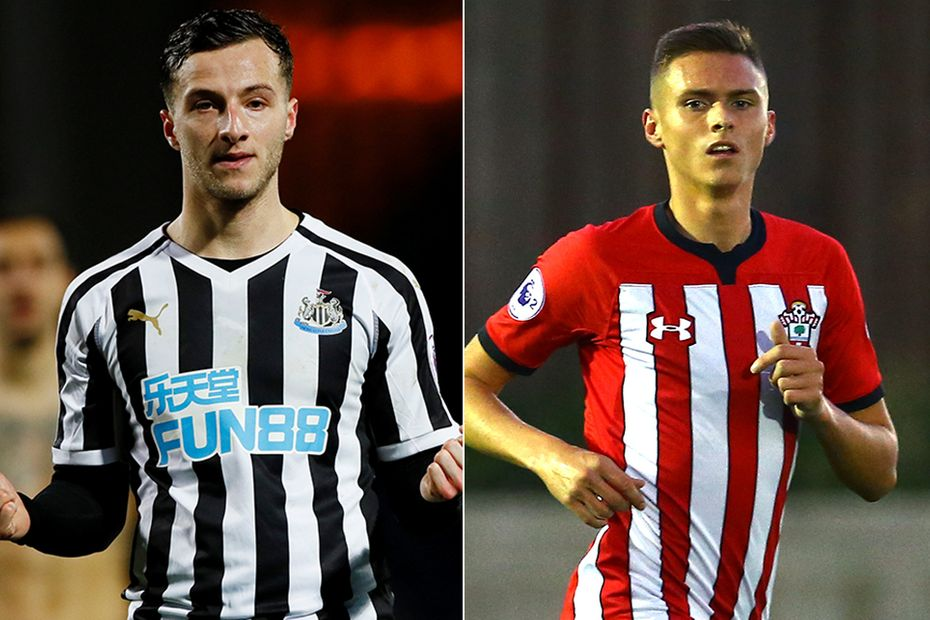 Newcastle's Jamie Sterry and Southampton's Will Smallbone