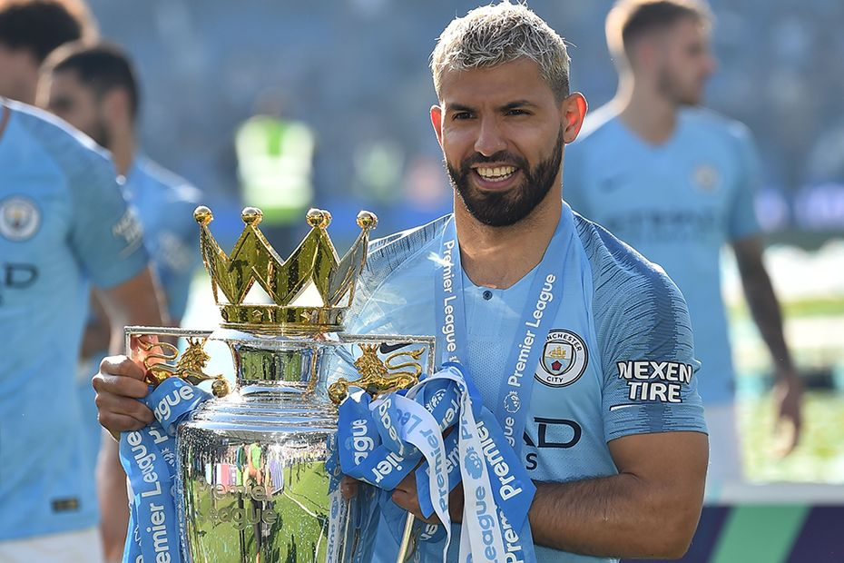 Sergio Aguero, Manchester City, with the Premier League Trophy