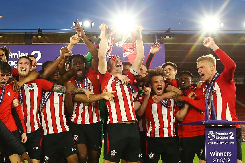 Southampton celebrate winning the PL2 Division 2 playoff final