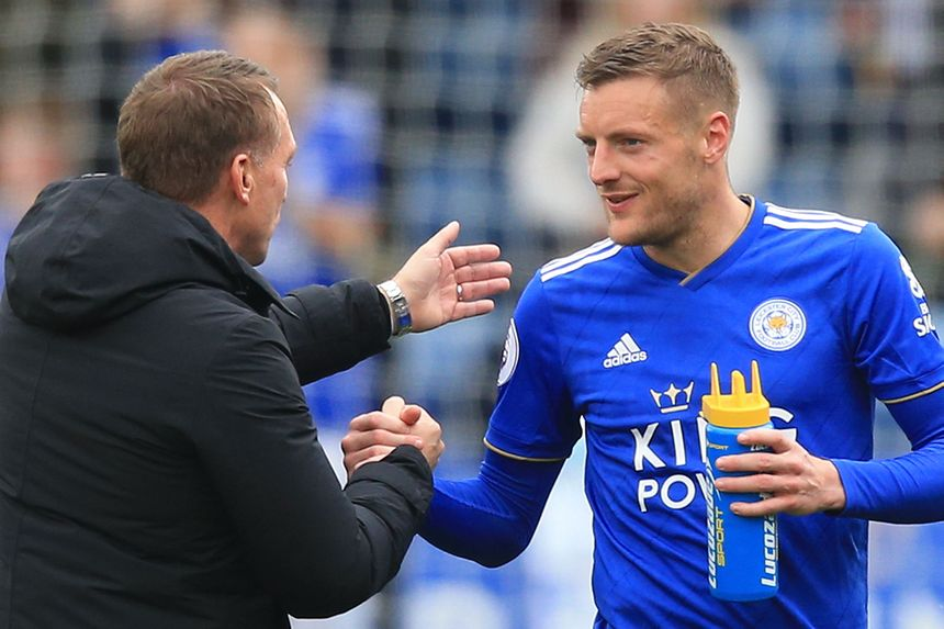 Brendan Rodgers and Jamie Vardy, Leicester City