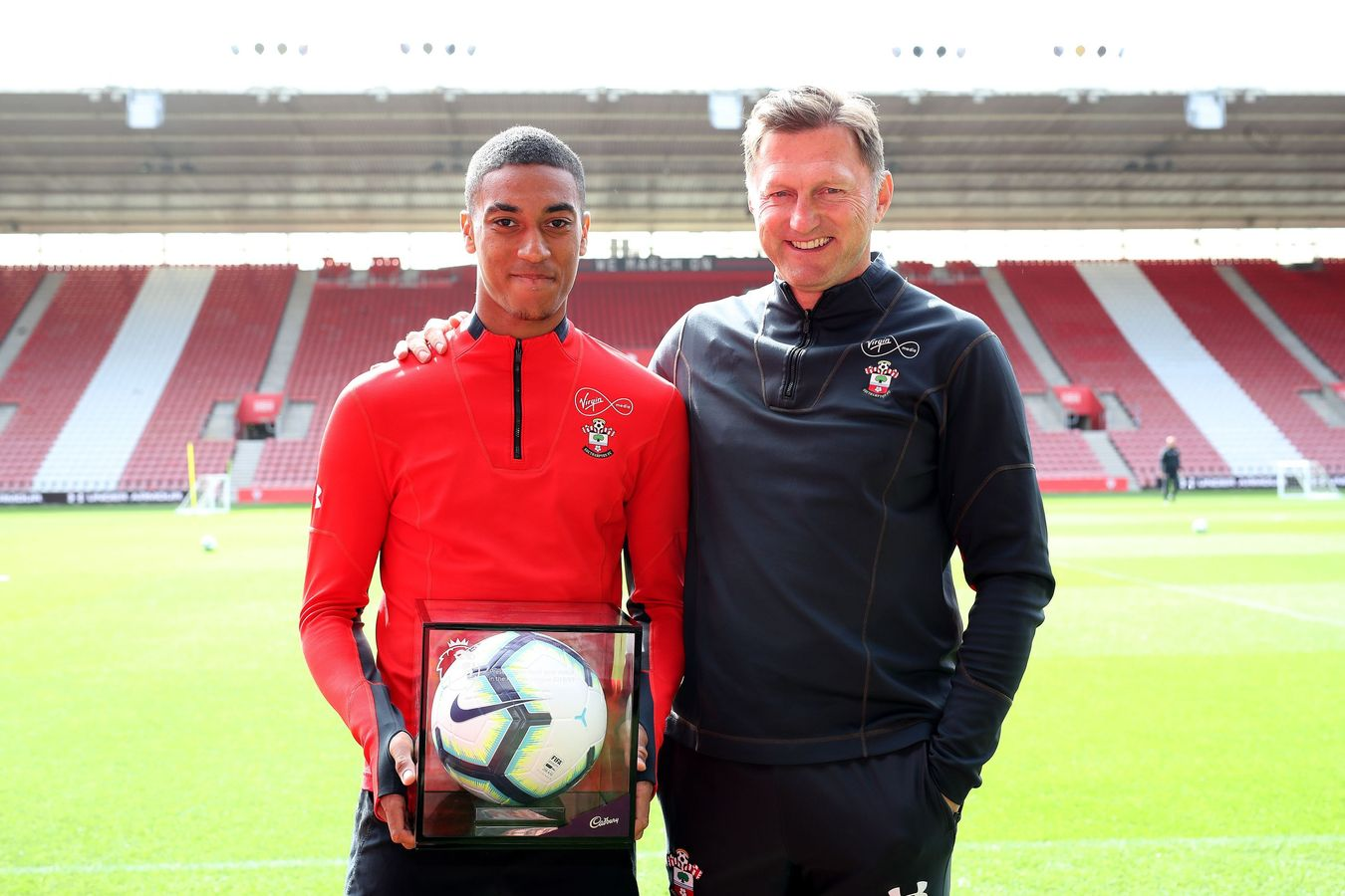 Southampton's Yan Valery and Ralph Hasenhuttl