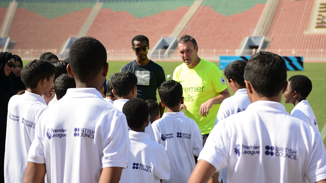 AFC Bournemouth's Steve Cuss takes a Premier Skills coaching session in western Asia