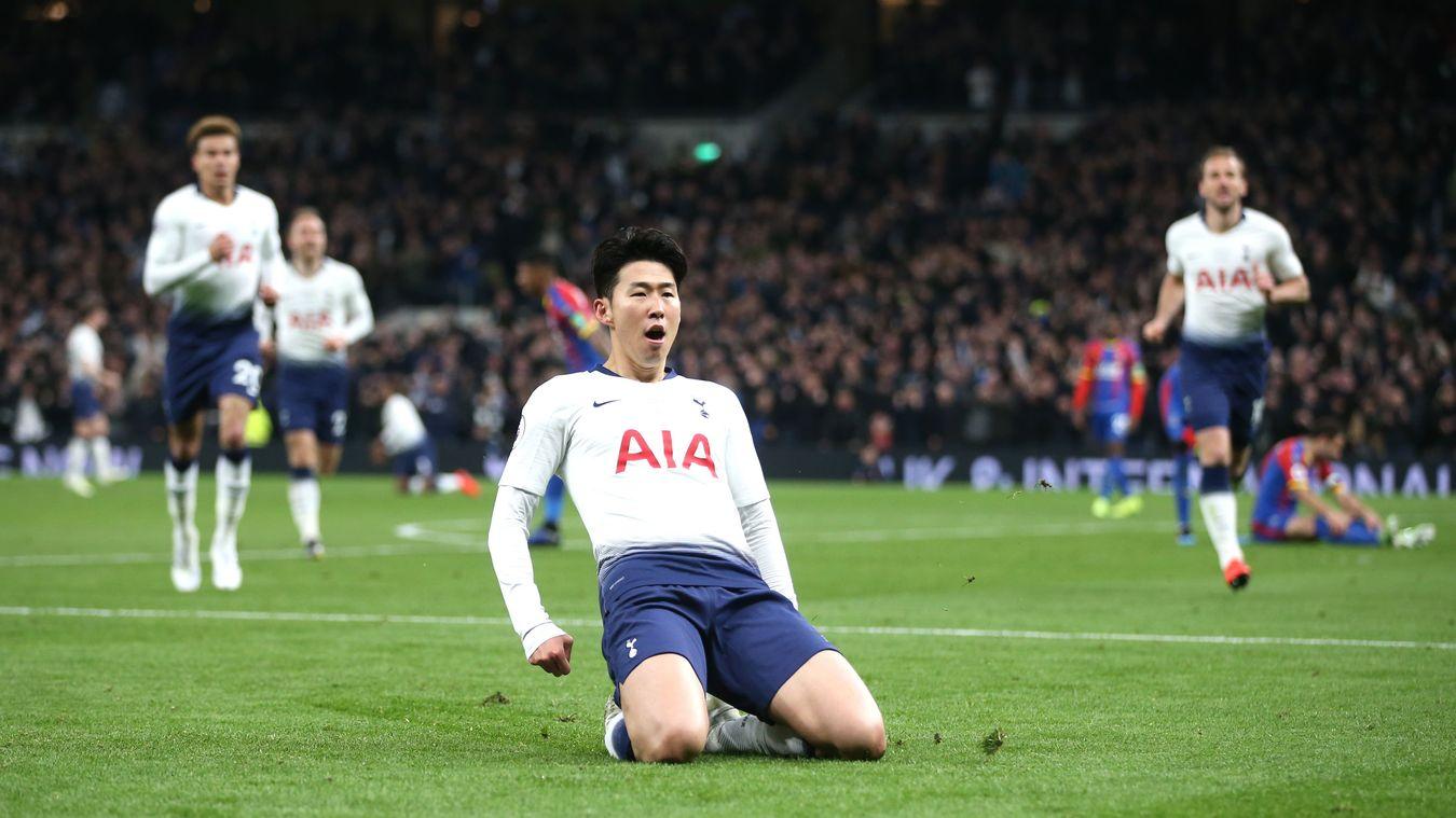 Son Heung-min celebrates after scoring the first ever Premier League goal at Tottenham Hotspur Stadium
