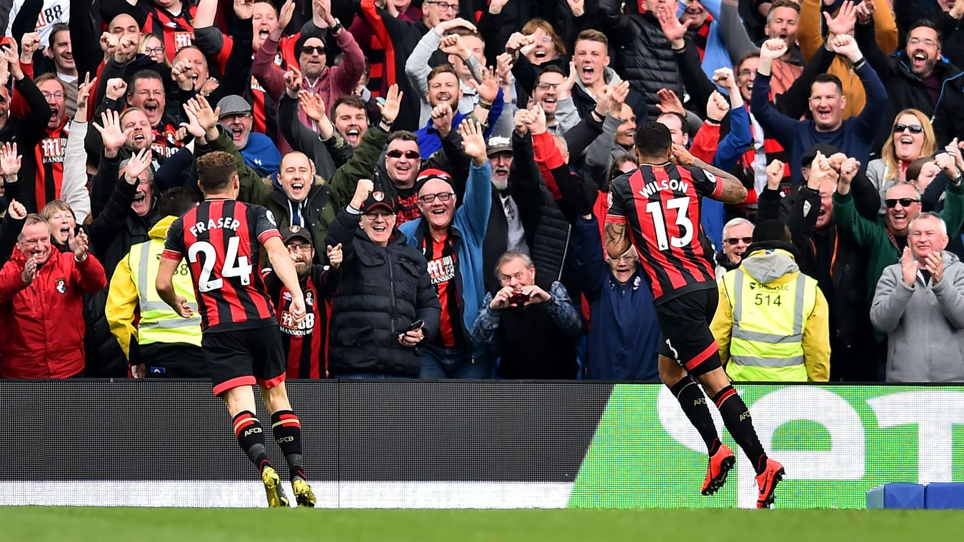 The travelling Bournemouth fans were delighted to see their side put five past Brighton