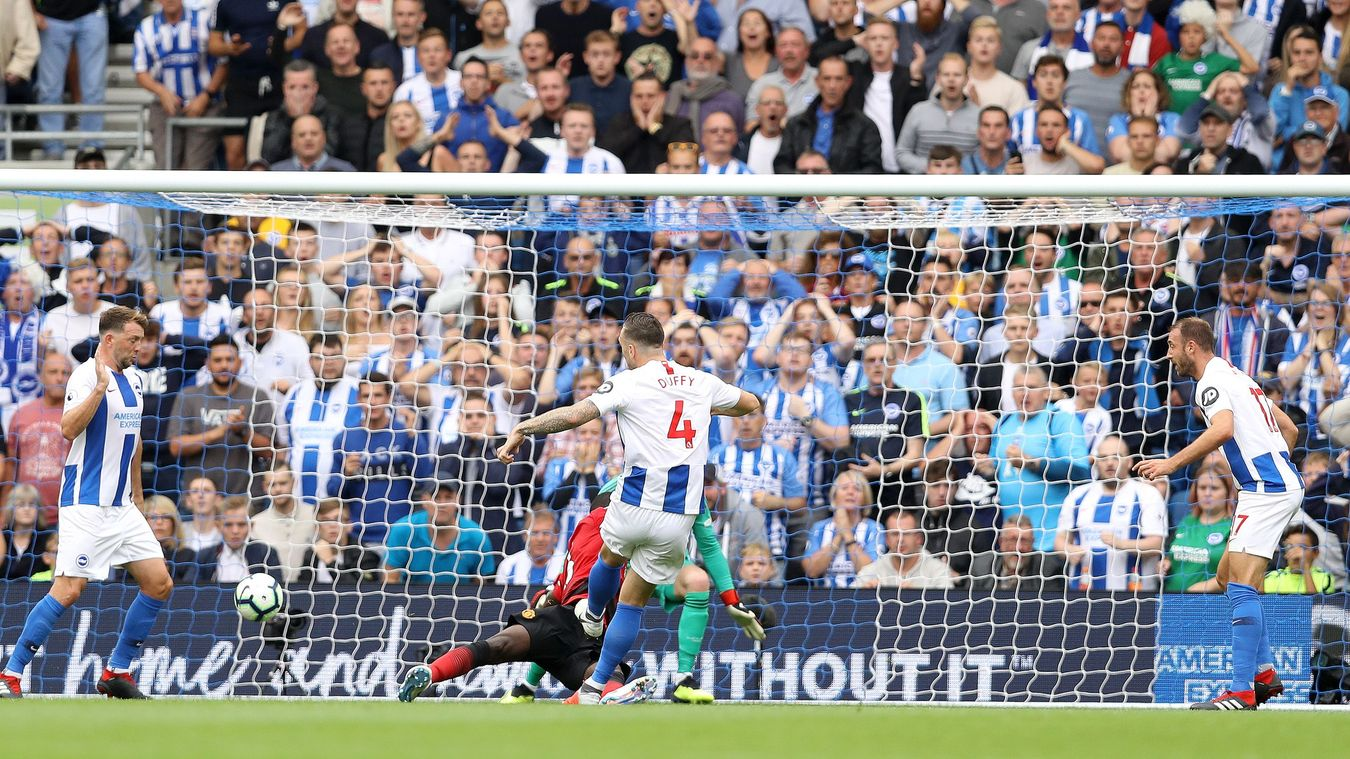 Shane Duffy fires home Brighton's second goal