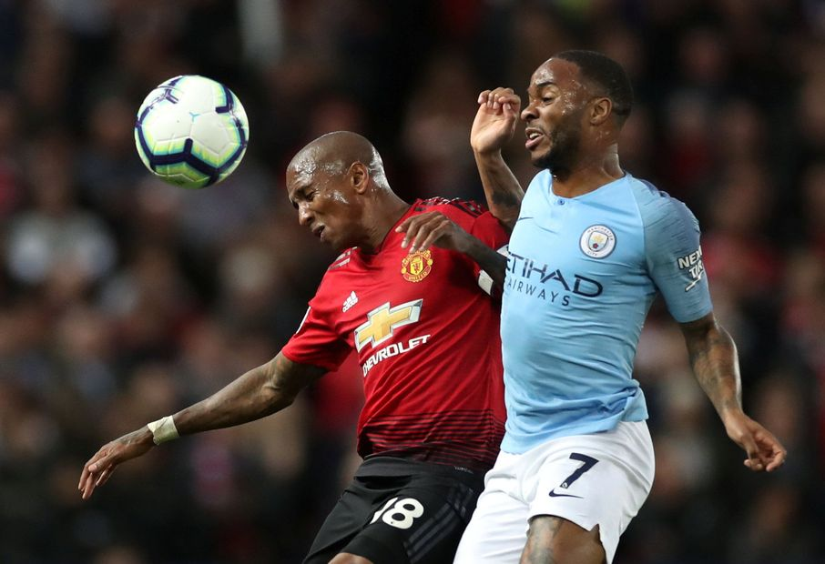 Man Utd's Ashley Young and Man City's Raheem Sterling