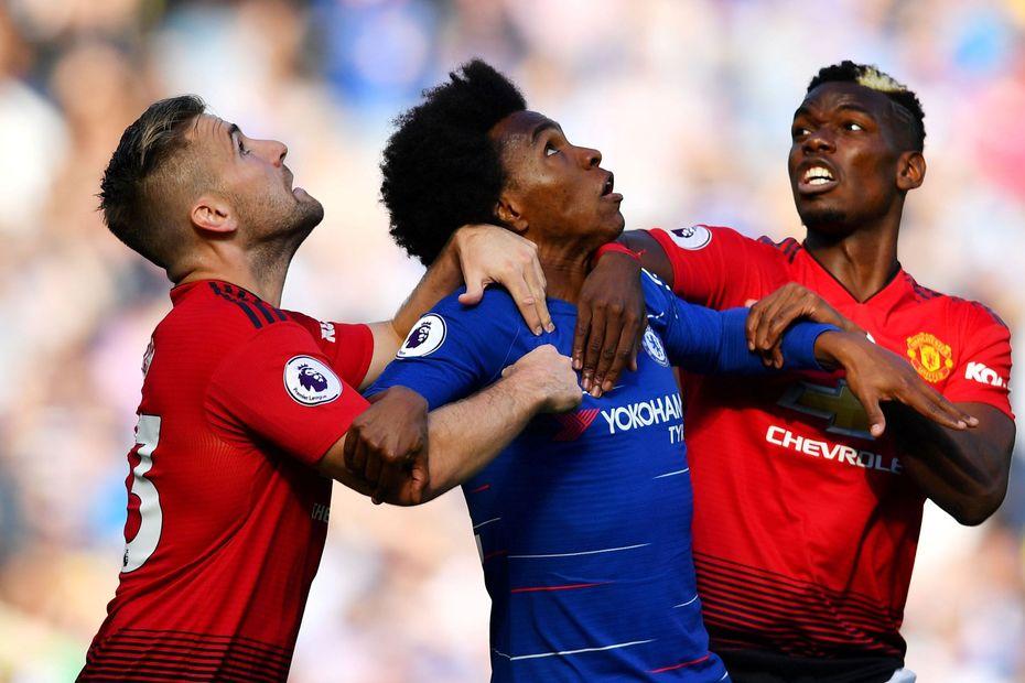 Luke Shaw and Paul Pogba, Man Utd, and Willian, Chelsea