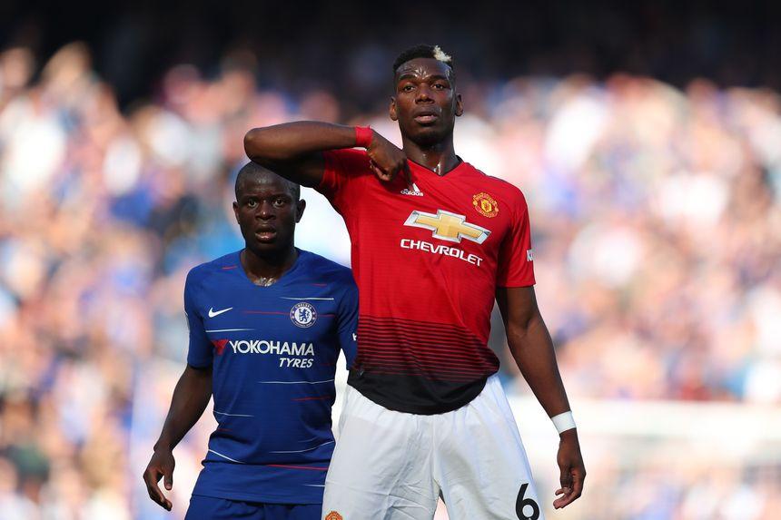 Paul Pogba and N'Golo Kante, Man Utd v Chelsea