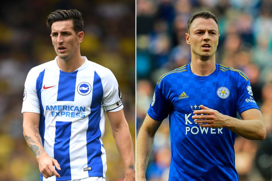 Brighton's Lewis Dunk and Leicester's Jonny Evans