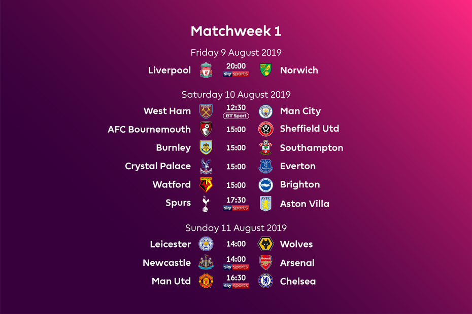 Calendario Premier 2020.Premier League Fixtures For 2019 20 Announced