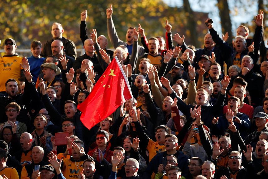 Wolves fans Chinese flag