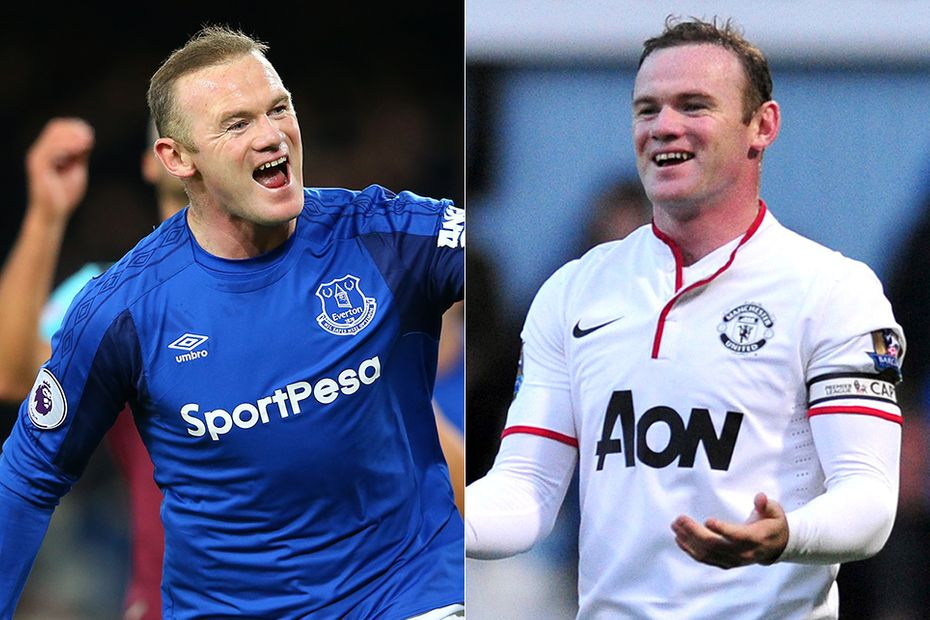 Images of Wayne Rooney celebrating goals for Everton and Man Utd