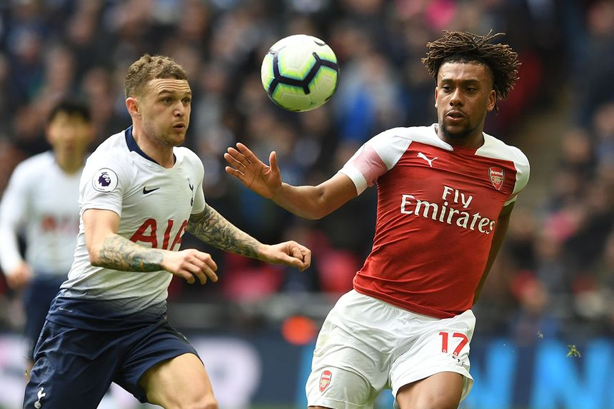 Spurs' Kieran Trippier and Arsenal's Alex Iwobi