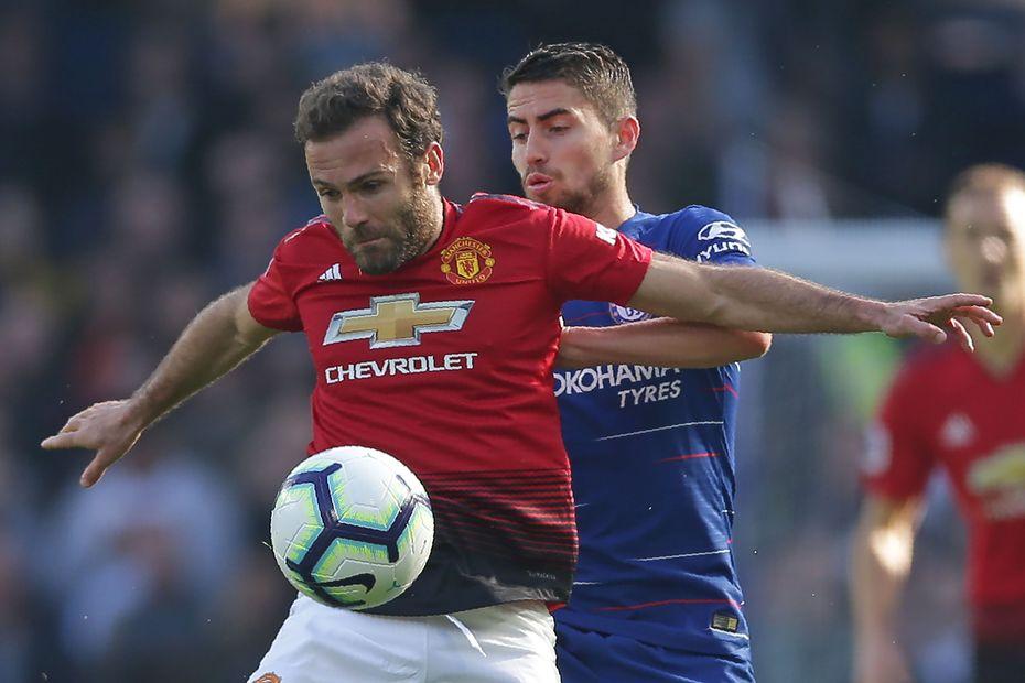 Juan Mata, of Man Utd, and Chelsea's Jorginho