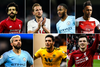 A graphic of Salah, Kane, Sterling, Aubamayeng, Aguero, Jimenez and Robertson