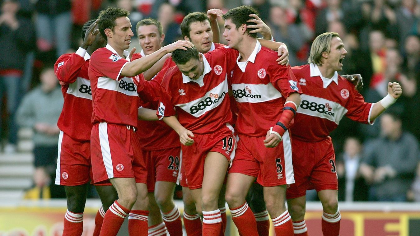 Chris Riggott goal celebrations, Middlesbrough v Liverpool, 2004