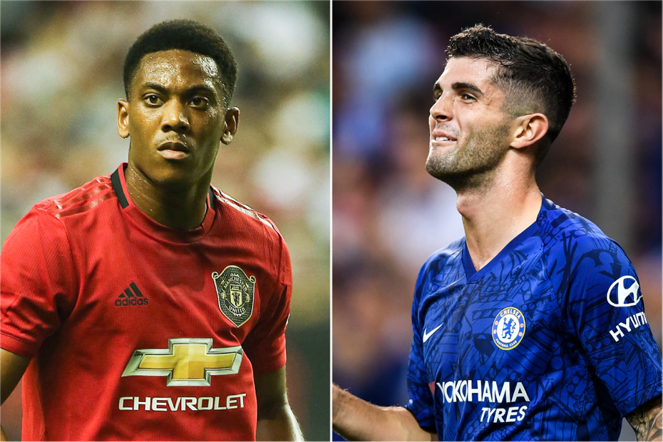 Anthony Martial and Christian Pulisic composite wide