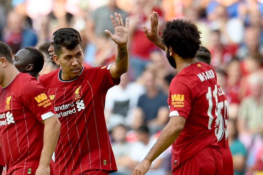 Liverpool's Roberto Firmino and Mohamed Salah