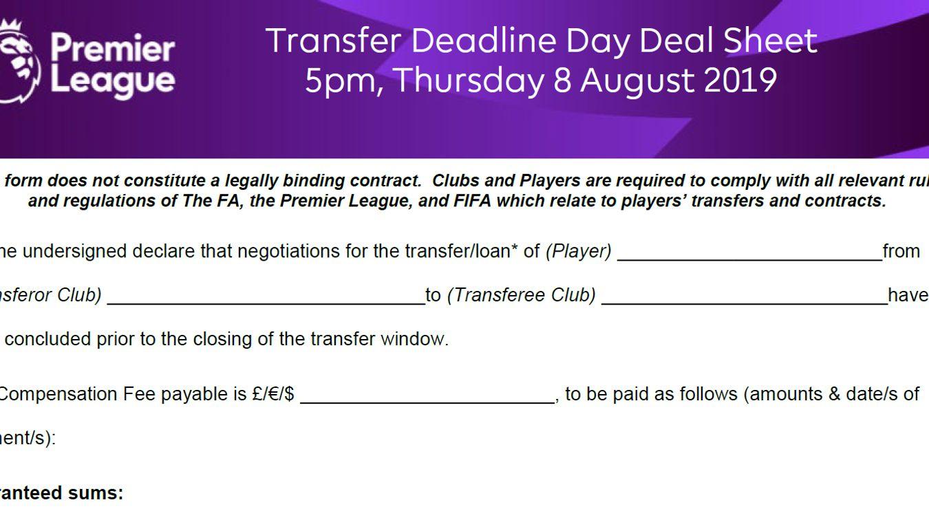 Deal Sheet August 2019