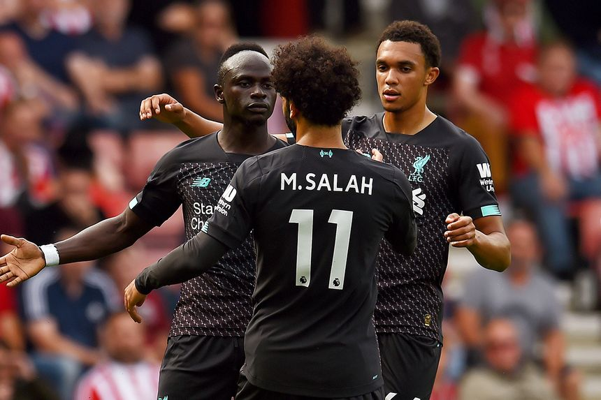Sadio Mane, Mohamed Salah and Trent Alexander-Arnold, Liverpool