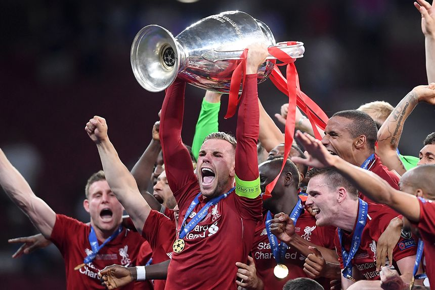 Jordan Henderson lifts UEFA Champions League trophy
