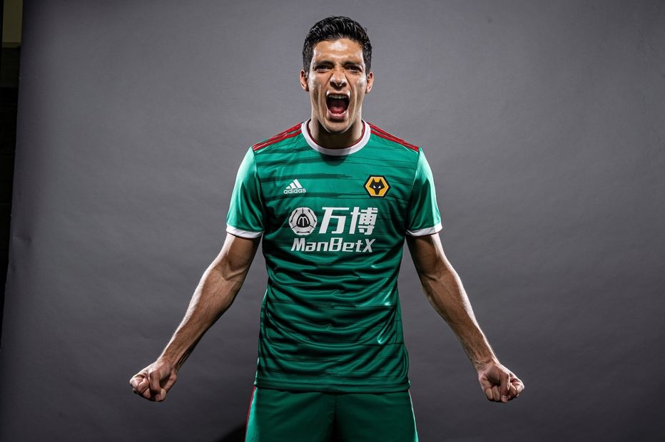 Raul Jimenez wears Wolves' 2019/20 third kit