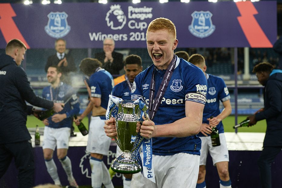 Morgan Feeney lifts Premier League Cup for Everton