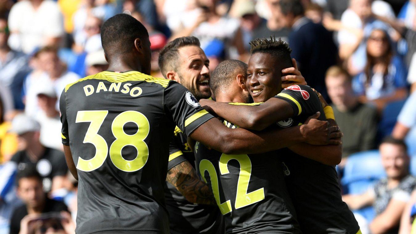 Southampton players celebrate at Brighton