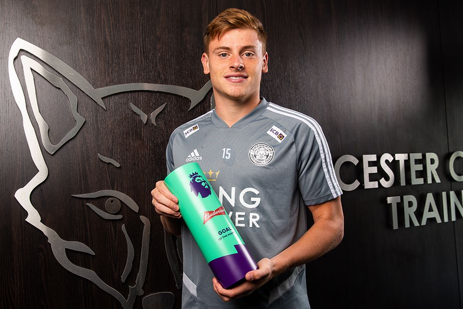 Harvey Barnes of Leicester Ciy with his Budweiser Goal of the Month award