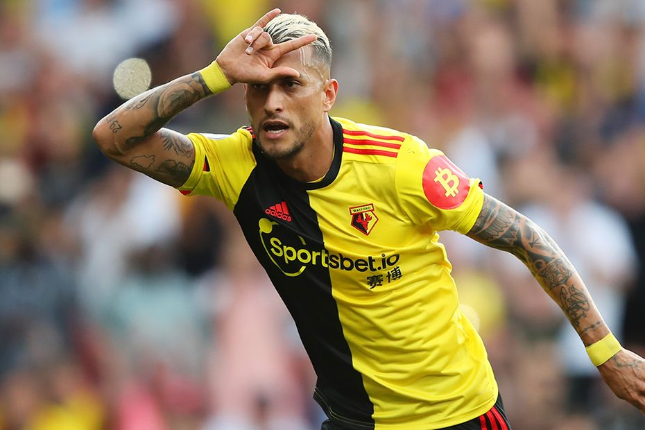Roberto Pereyra celebrates scoring for Watford against Arsenal