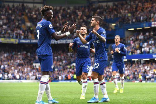 Chelsea players: Tammy Abraham, Azpilicueta, Pulisic, Barkley