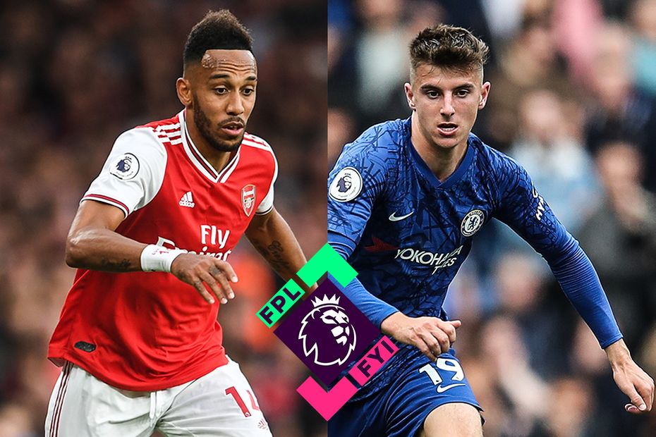 Pierre-Emerick Aubameyang, of Arsenal, and Chelsea's Mason Mount