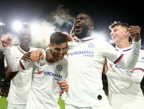 Abraham, Pulisic, Tomori and Mount, Chelsea