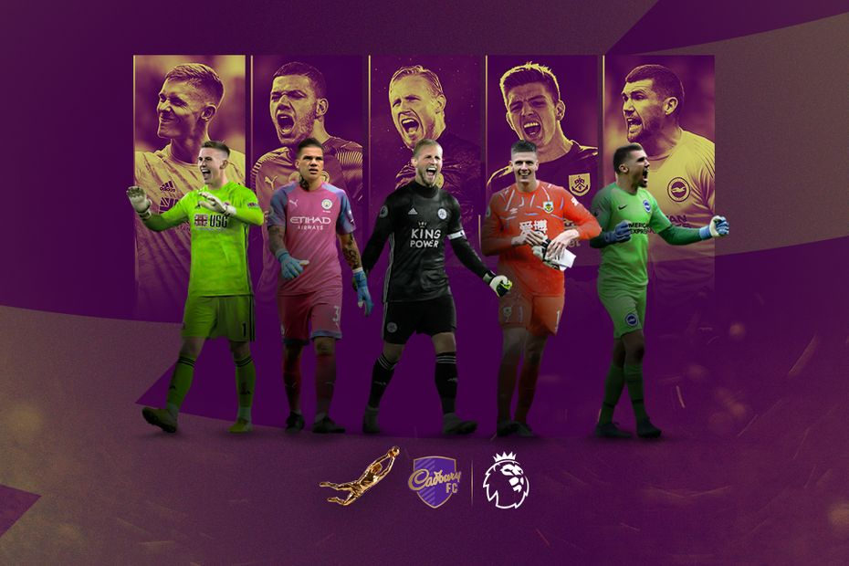 A graphic of the top five contenders for the Golden Glove: Henderson, Ederson, Schmeichel, Pope and Ryan