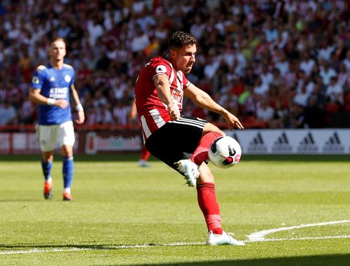 George Baldock shoots - Sheffield United v Leicester City