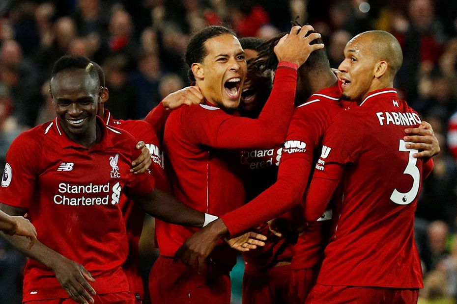Liverpool celebrate against Everton