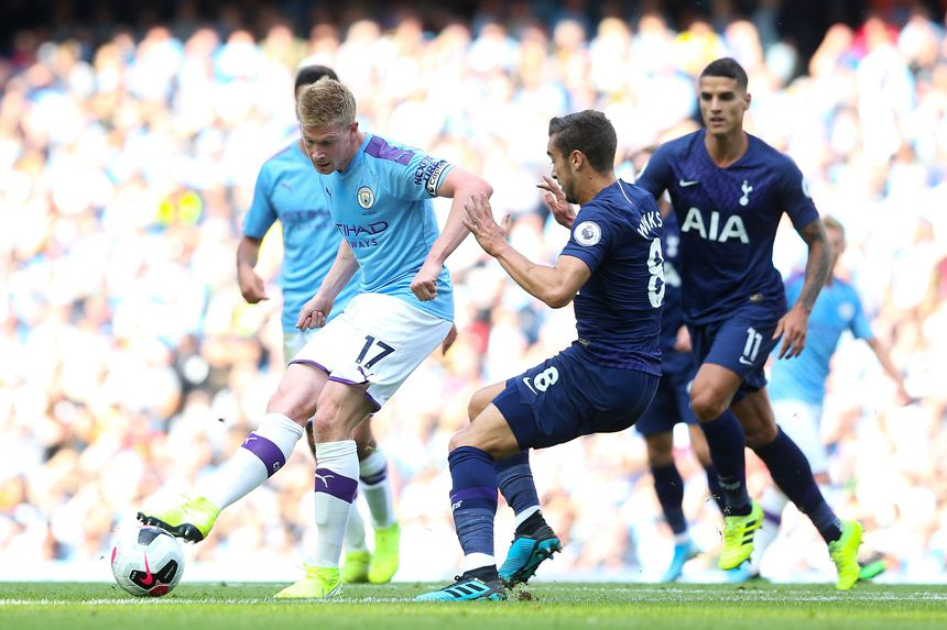 Kevin De Bruyne, Man City, and Harry Winks, Spurs