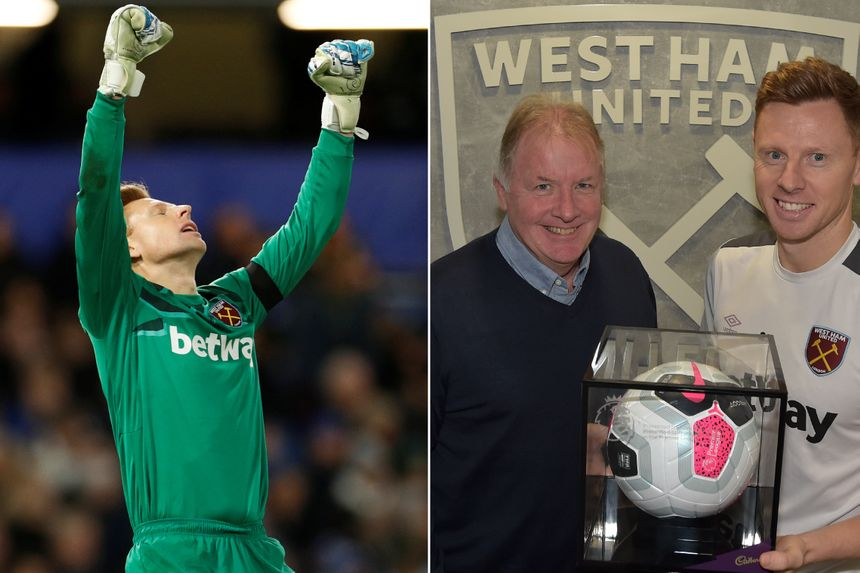 West Ham's David Martin with his Premier League Debut Ball and Martyn Heather, the PL's Head of Education & Welfare