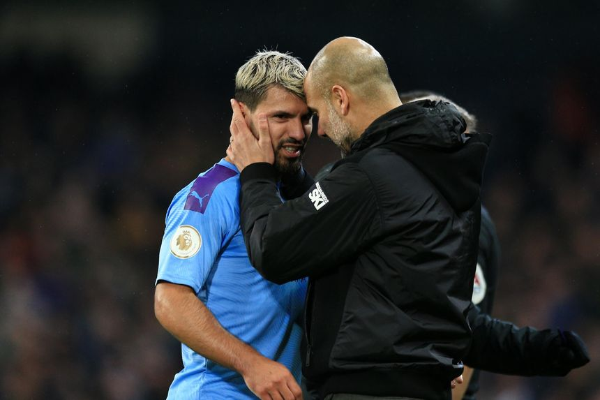 Sergio Aguero and Pep Guardiola, Manchester City